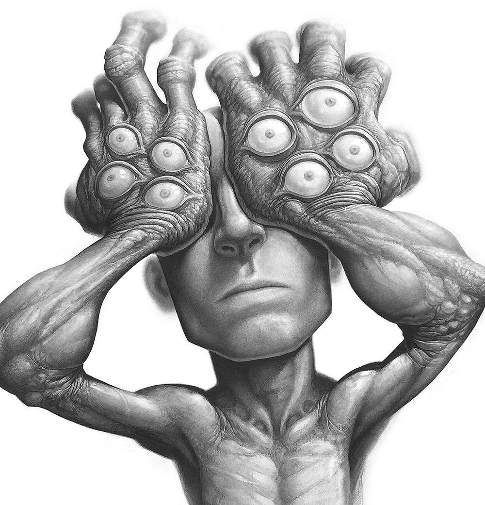 The original idea for this one was when i was going through a very stressful time and i was drawing to relax.  So i drew a character with his hands over his eyes, but i didn't want it to be completely hopeless, or lost in despair, so I added a bunch of eyes on top of his hands.  I see it as portraying that there are many more things in life than what can be seen with our human eyes. Such as ideas, spirits, morality, justice, God, heaven etc.