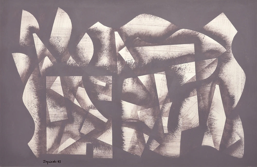 Abstraction 302  ·        Technique: Acrylic on paper.  ·        Measurements: 53x81 cm  ·        Year: 1987
