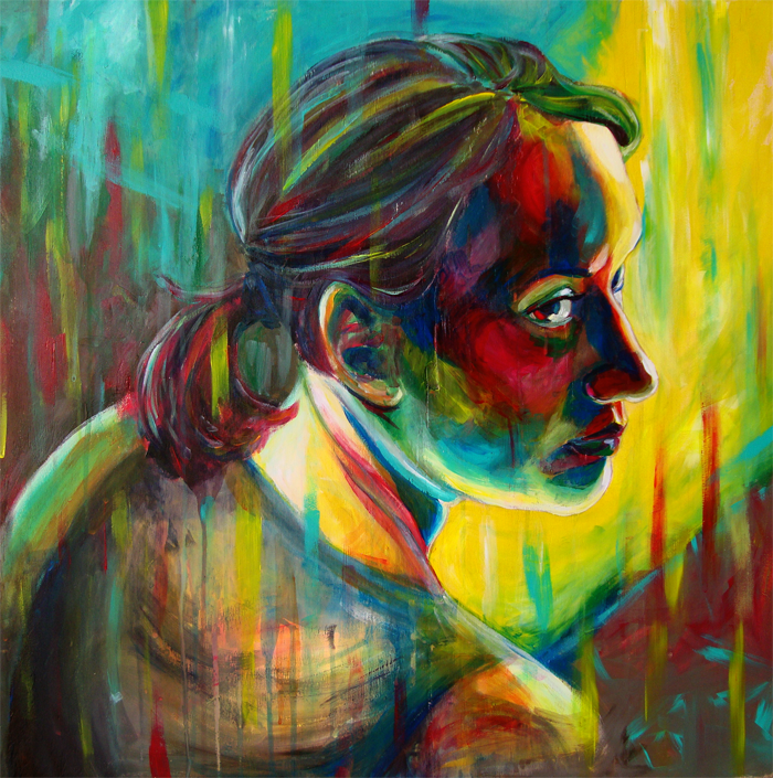 "Iris:  This piece is actually one of my early paintings.  It is actually one in a series of 5 from 2010.  For a while I was very enamored with painting on wood, so this piece is acrylic on a 24""x24"" wood panel.  The portrait is of another artist and good friend of mine, Iris Cahill Casiano.  During this period of time, the figures in my paintings and drawings had been feeling very stiff and plastic so I wanted to try and capture a figure with more genuine emotion.  Iris and I did a photo shoot, each taking photos of the other for future works.  This is the piece that arose from that afternoon.  When I completed it, I felt that it was my best painting to date, by far."