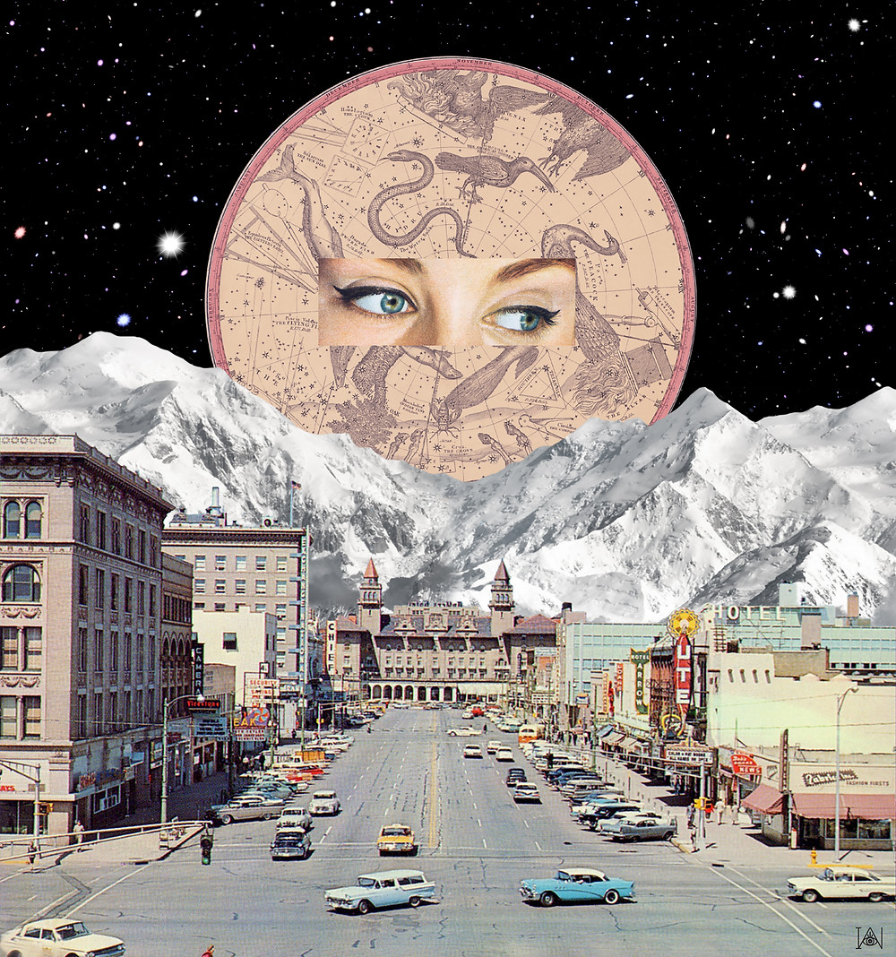 'Open your eye' 'Open your eye' is an artwork based on astrology, a subject that I find very interesting. Here we see a normal day in the lives of Americans in the  1950s, while being looked after by an zodiac circle. Opening your eye also refers to your third eye instead of the two eyes to look with, so listening more to your inner self.