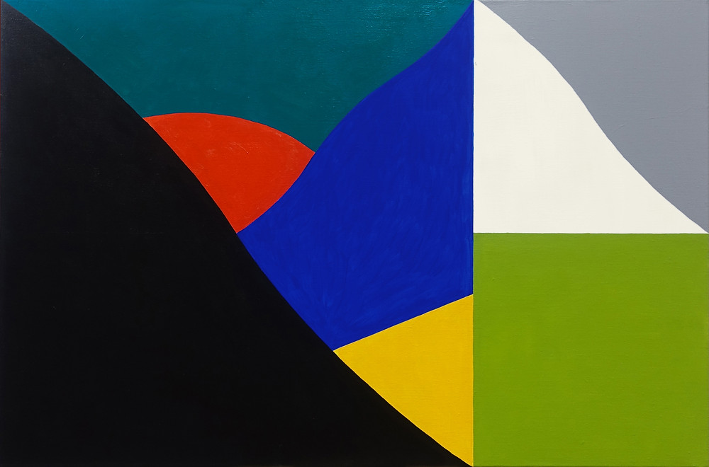 Sierra 100 x 80 cm | acrylic on linen | 2018 This painting explores simple colour and shape interaction in a minimalistic composition based within a 3 x 2 grid structure.