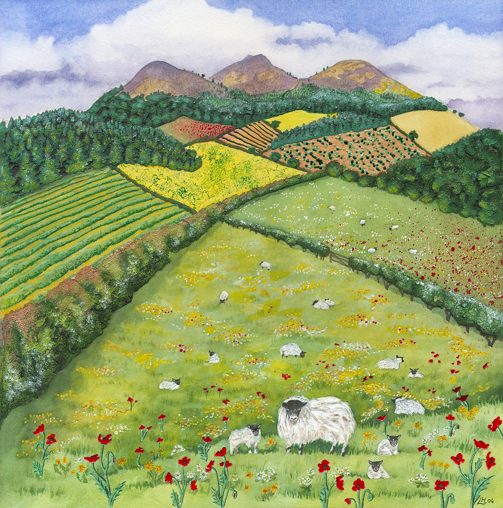 The Eildon Hills in Spring - A landscape portrait of the Scottish Borders countryside in Spring, featuring the Border's own Eildon Hills which are visible from so many routes into the very heart of the Borders. I used watercolour and mixed media, including sand texturing
