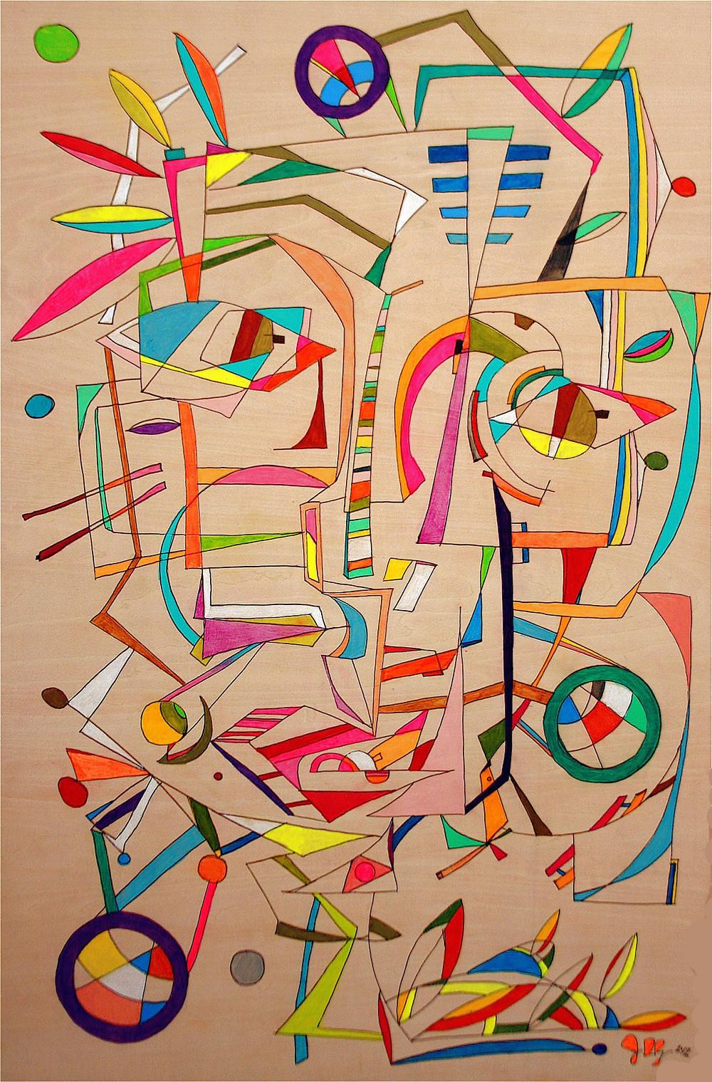 """""""guy# 9""""  36"""" x 24"""" (91.44 cm x 60.96 cm) Gouache on Wood   2012"""