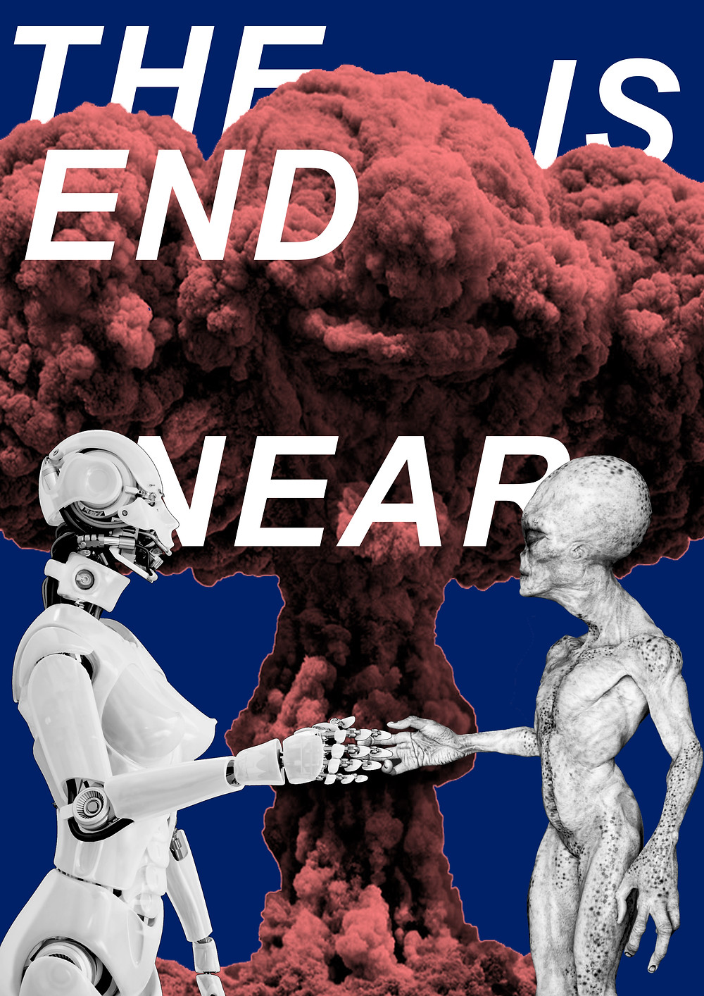 The End Is Near Once I read an article about some possible apocalyptic scenarios — from massive nuclear explosion to zombie attack, from alien invasion to enslavement by AI. It struck me what if not just a single one, but all of these theories are true, and the real doomsday must include all the factors. Robots make agreements with ET's about capturing the planet while people destroy their own kind in an atomic war not forgetting to snack with someone's radioactive brains... Yeah, sounds like crazy stuff but a good idea for poster design.