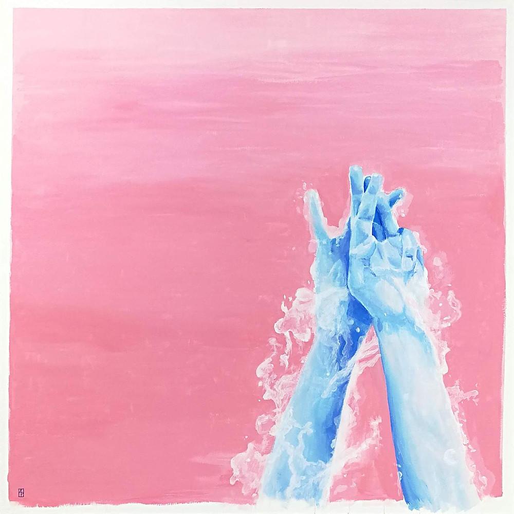 """Emerge"". Acrylic on paper. 50x50 cm. 2019"