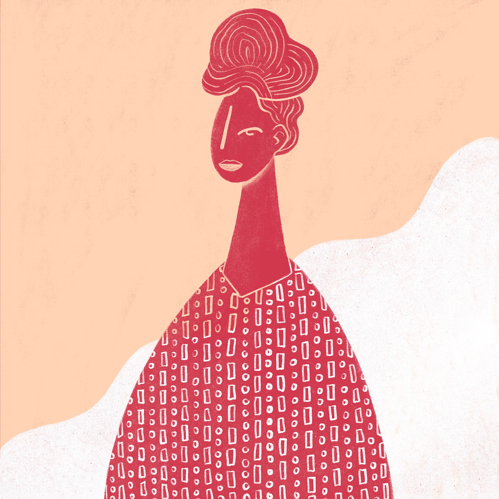 """This illustration was part of a series depicting feminists, where the idea was to share women who empower women. This piece is an illustration of Chimamanda Ngozi Adichie, and is based on a quote by her that says """"""""Gender as it functions today is a grave injustice. I am angry. We should all be angry. Anger has a long history of bringing about positive change. But I am also hopeful, because I believe deeply in the ability of human beings to remake themselves for the better."""""""