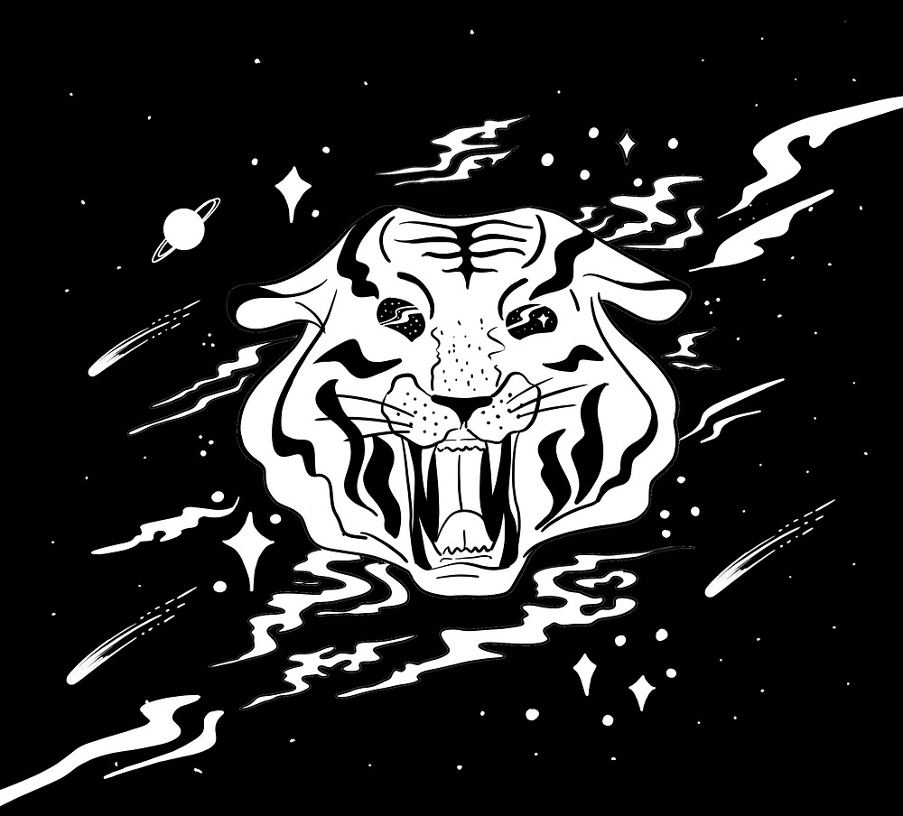 Space Tiger: This work is inspired by my love of tigers and space. I wanted to bring them together to make something cosmic but fun.
