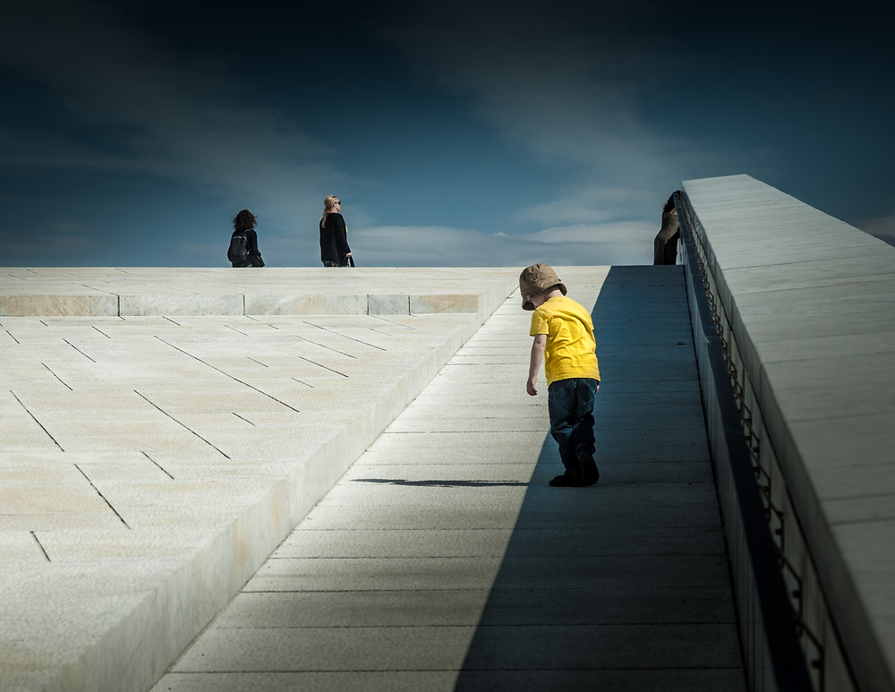 This shot was taken on the roof of the opera house in Oslo, Norway,