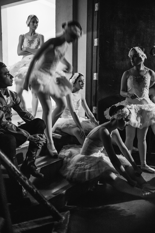 """Ballerinas behind the scenes during the """"Swan Lake"""" ballet performed by Fundacion Ballet de El Salvador. El Salvador, july, 2019."""