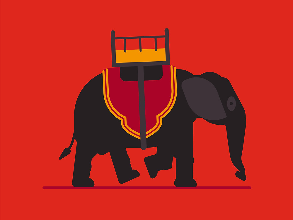 """Elephant ride in a traditional outfit from Cambodia. Kings and army used to ride it in Kingdom history. In modern life touristic industry use them like a carousel.  This artwork if a part of my series """"Flat-design, Cambodian folk"""" specially made to creating a modern representation of Khmer culture."""