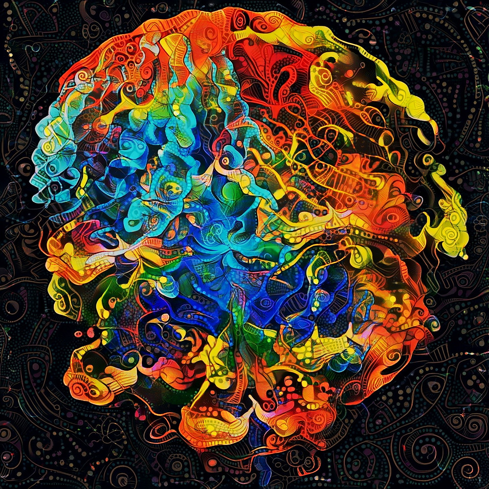 """Plume"" (Plume Web.jpg) Fractal + Style Transfer, 2019 One of my favorite combinations in procedural art is to feed a fractal render into a neural network trained for ""style transfer"". This is a relatively new type of image generation where a generative adversarial network (or ""GAN"") emulates an artistic style to create a stylized render of a source image. In simpler terms, I use very powerful computers to create versions of my fractal art in different artistic styles. While this tech is still being fine-tuned for use with photos and more realistic source images, I find there's a special beauty when using them to render abstract scenes where the imprecision can become part of the intent."