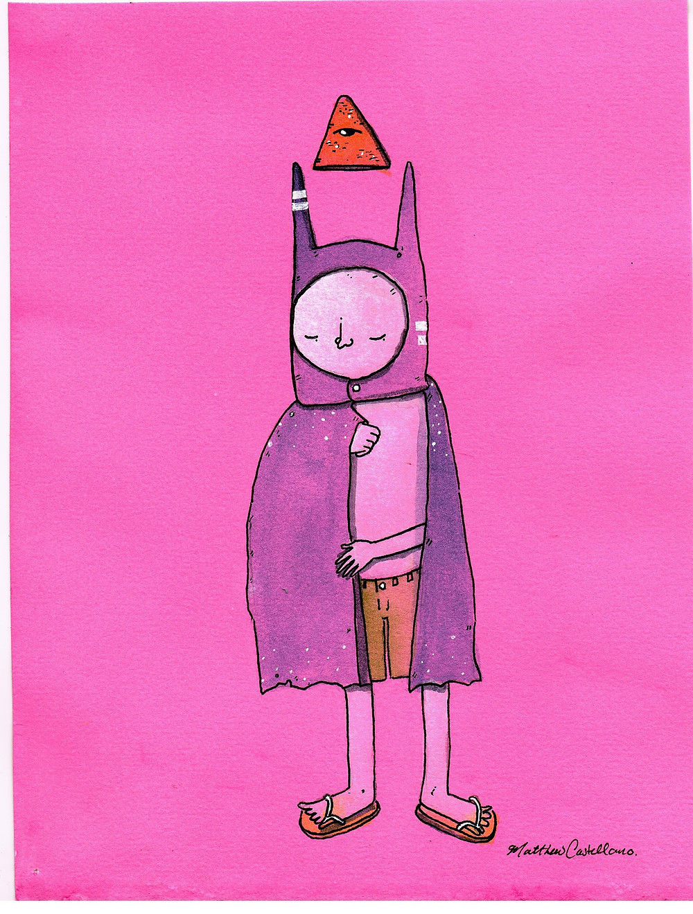 """""""ThankyouBat001""""  6"""" x 8"""" watercolor and ink on dyed 140lb hot press watercolor paper."""
