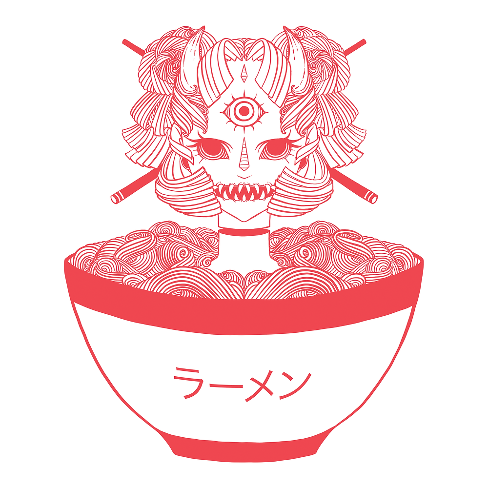 Monster Girl & Ramen Noodles, created with iPad, Apple Pencil, and Adobe Draw.