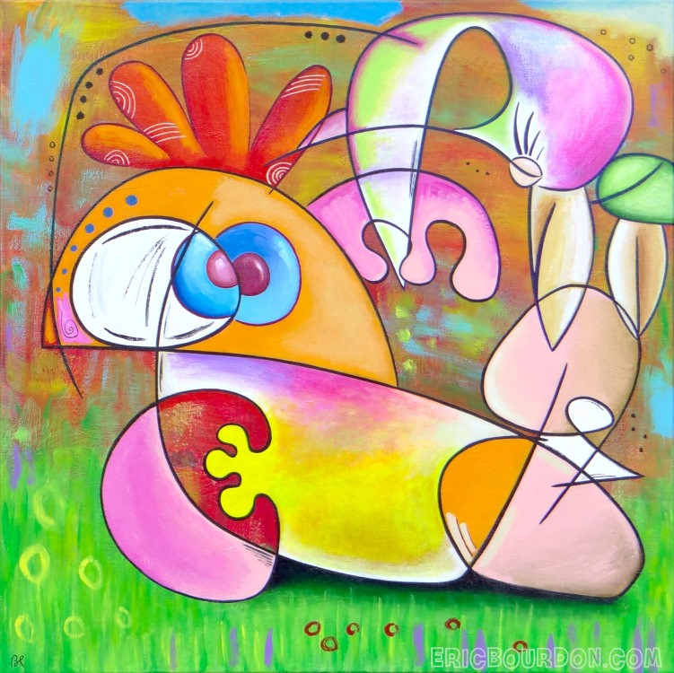 Bird pedicure - size : 31.50 x 31.50'' / 80 x 80 cm - Acrylic painting on linen canvas, 2018