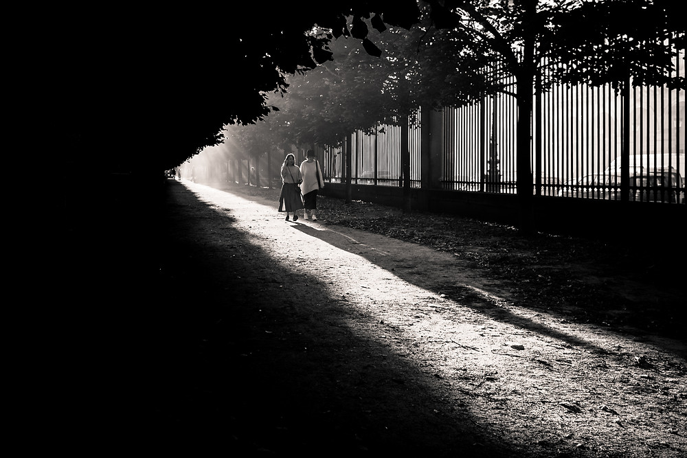 Jardin (garden) - Paris, 2016. Dusty summer day, a tourist couple goes for a walk at the Jardin des Tuileries.