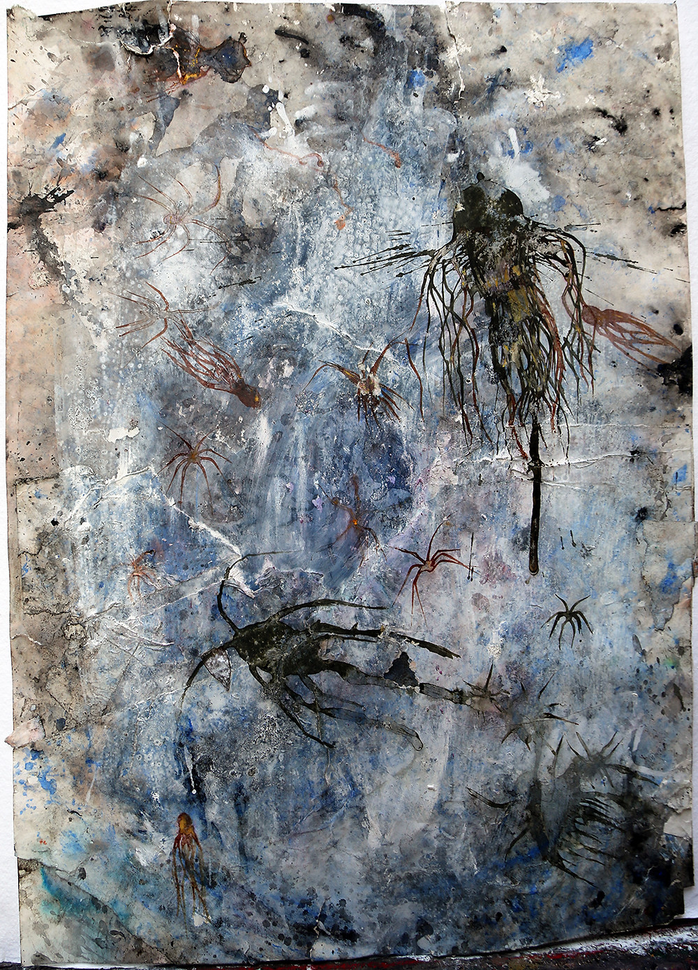 """""""In the eve of the lost world 65"""" Ink, acrylic paint, pastel, bleach, glue, organic material, sand, over paper. (70 x 49 cm.)"""