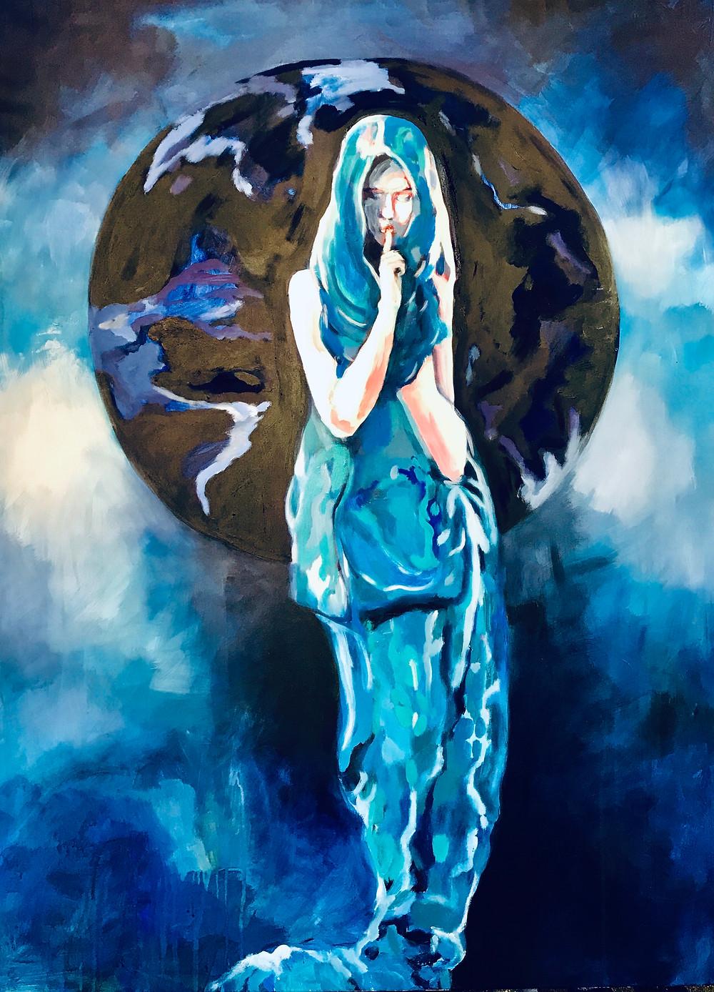 Sige - the goddess of silence 160 x 110 cm Acryl on canvas 2020