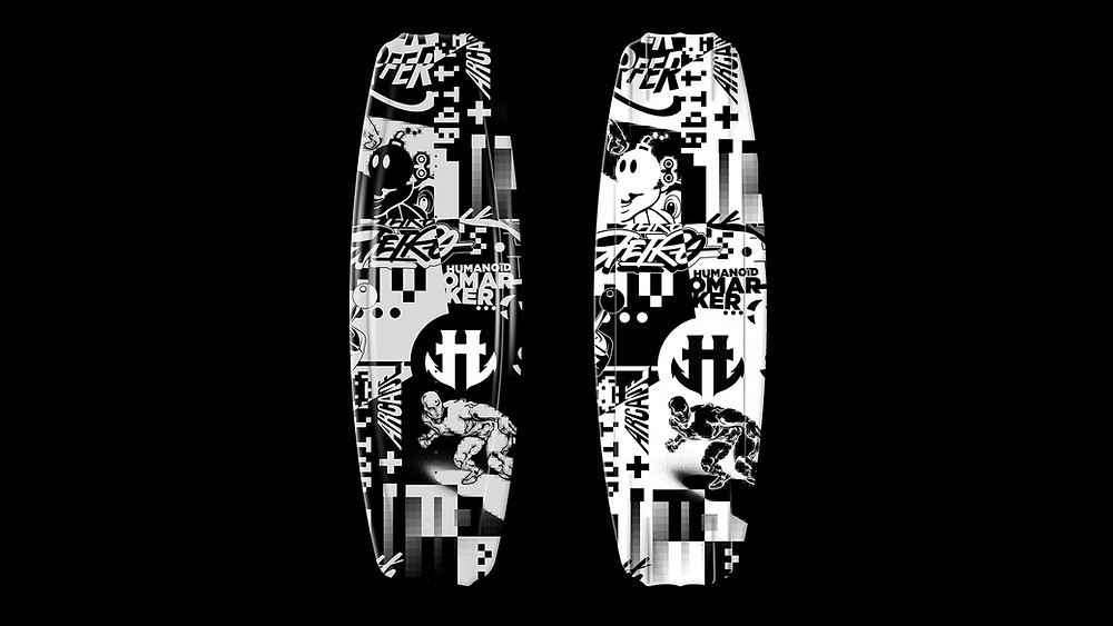 """""""Omarker x Humanoïd Wakeboard"""" is a graphic design proposal  inspired by retro gaming and pop culture for the brand's IO series. It was about playing with the key codes and images of """"pop and retro"""" culture by proposing an abstract composition and a more contemporary black and white vision."""