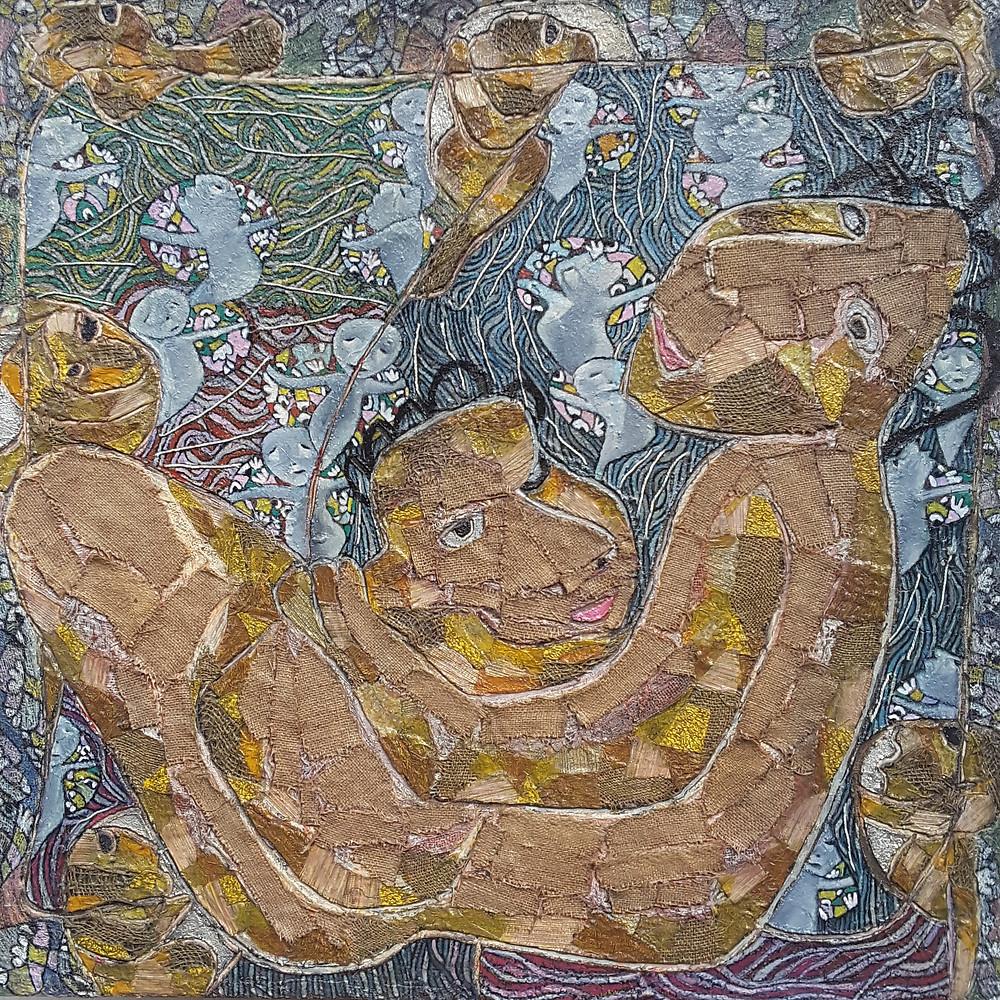 Mother & child 2, 100 x 100 cm, 2020, m.m.on canvas