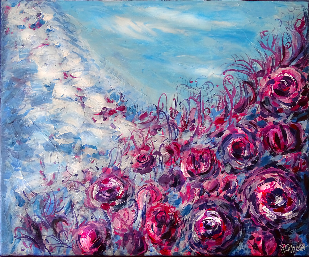 """Le Chant des Pivoines"", acrylic on canvas, (2020)"