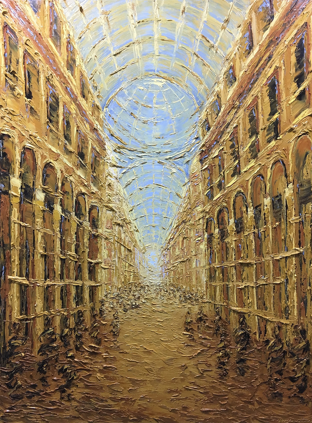 Golden Galleria  Oil on canvas 2018 40 x 30 x 1.7 in. From the Galleria series, based on impressions of the galleria Vittorio Emmanuelle in Milan, Italy. Cities, public spaces, architecture, people.