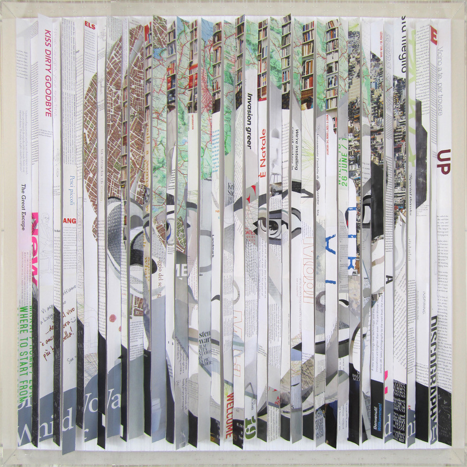 the great escape - 80 x 80 x 8 cm - 2017 strips collage where a portrait of the same person depicted in 2 different poses changes when the observer moves from left to right and viceversa.