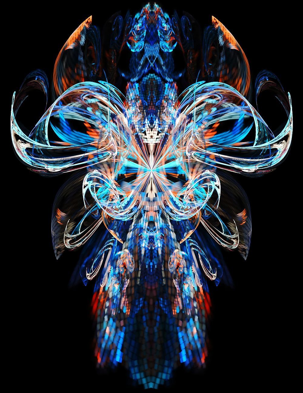 """Chalice"" (Chalice Web.jpg) Fractal, 2019 Fractals are often like clouds, if you ask three people what they see in them, you'll get five different answers back. I find it quite amusing when I've spent hours working on a new design, building up all these ideas about what's in the scene. ""That's a rad chalice,"" I'll think to myself, before taking it to my friends for feedback. They'll gush over the colors and the shapes, then tell me what a nice flower, or mask, or angel I've created. It's almost like when I share my art with them, they share a little bit of it back with me, and I just love that."