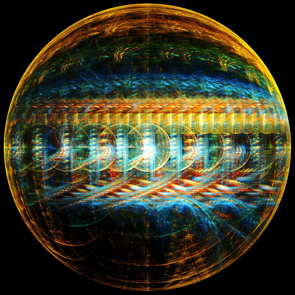 """Data Tank"" (Data Tank Web.jpg) Fractal, 2019 This design is inspired by an idea that I've woven into a few of my short stories, that the planet Jupiter might be more than just a gas giant. That the planet itself could be alive, awake, or operational. I wondered what Jupiter might look like as a massive prismatic store of data for some unfathomably powerful processing, and tried to blend the streaky, stormy texture of the planet with elements of order and structure. It just amuses me to no end that we humans make grand designs for our universe while sitting on one of the smaller rocks in our own solar system."