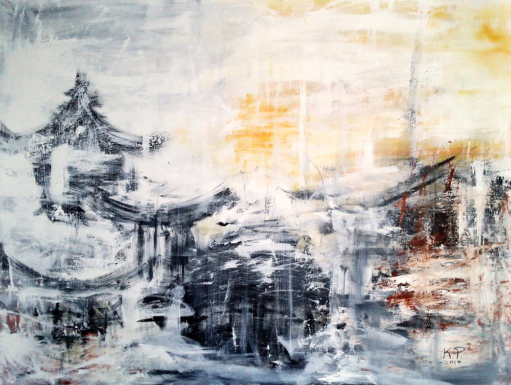"""""""Chinese Winter"""" is a commissioned painting for a French couple living in Singapore. I was asked to paint a black and white abstract cityscape, with a bit of warm color and Asian influence. They loved it and soon after purchased another of my paintings, this time a colorful abstract."""