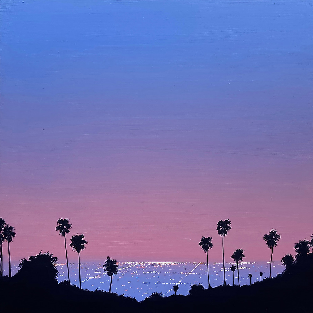 Over LA (Palms) - (12x12x2in, acrylic on panel, 2020).  This piece was inspired by many trips up to overlooks in Los Angeles. It was always a nice surprise to capture the glittering cityscape of LA through the frame of palm trees up above. The sprawl of the city lights is truly unforgettable.