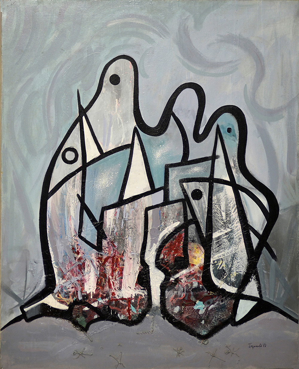 Abstract composition 120  ·        Technique: Acrylic on canvas.  ·        Dimensions: 100 x 81 cm  ·        Year: 1986