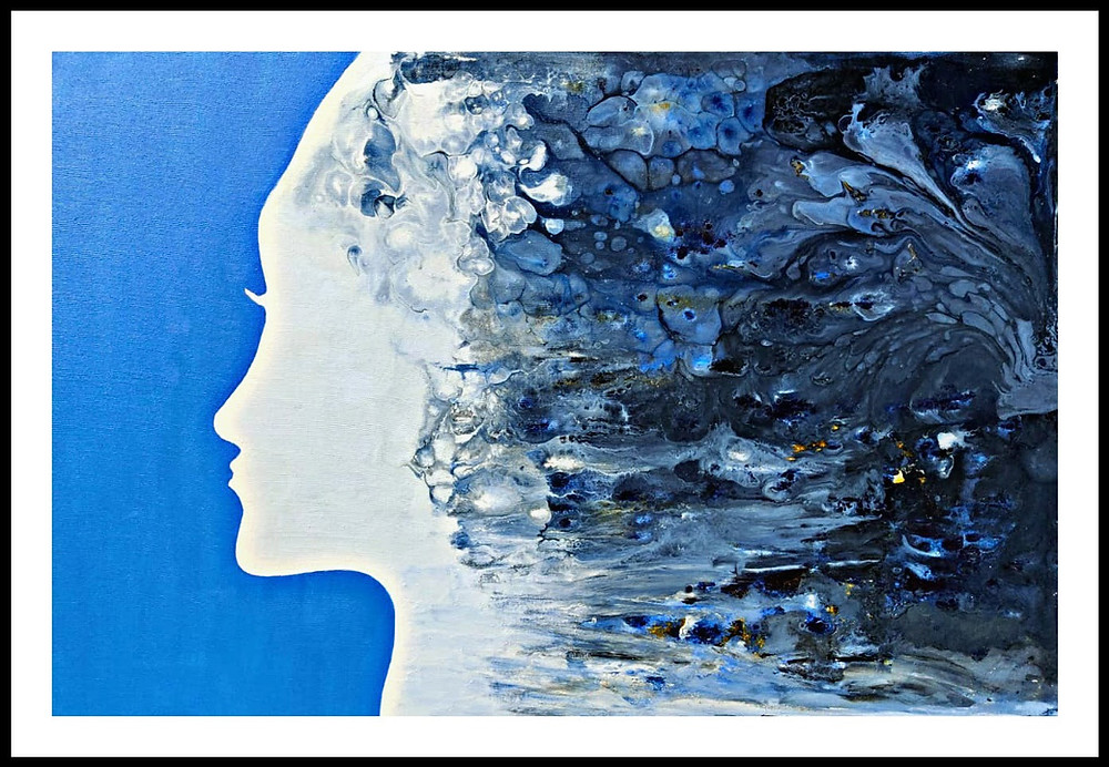 Fluid Art - A beautiful strong woman who has a storm inside her head yet appears so calm from outside!