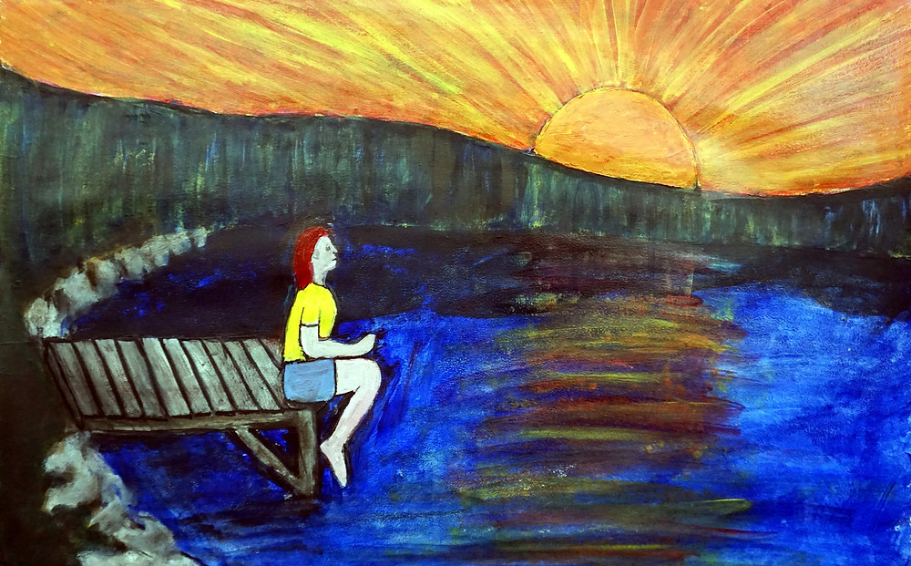 Sun Over Dark Lake 2019, latex on hardboard, 24 × 34 in, 61 × 87 cm Sunset over and the lake darkens.