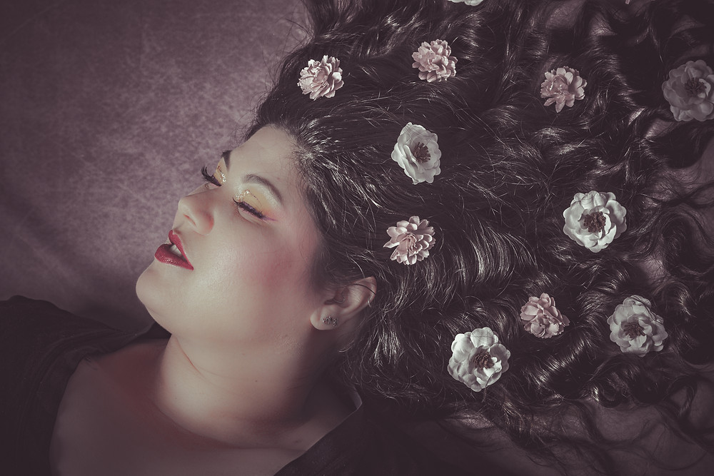 """Model: Joelle Jojo MUA: Karyna Omura Title: """"There is a girl out there with Love in her eyes and Flowers in her hair""""."""