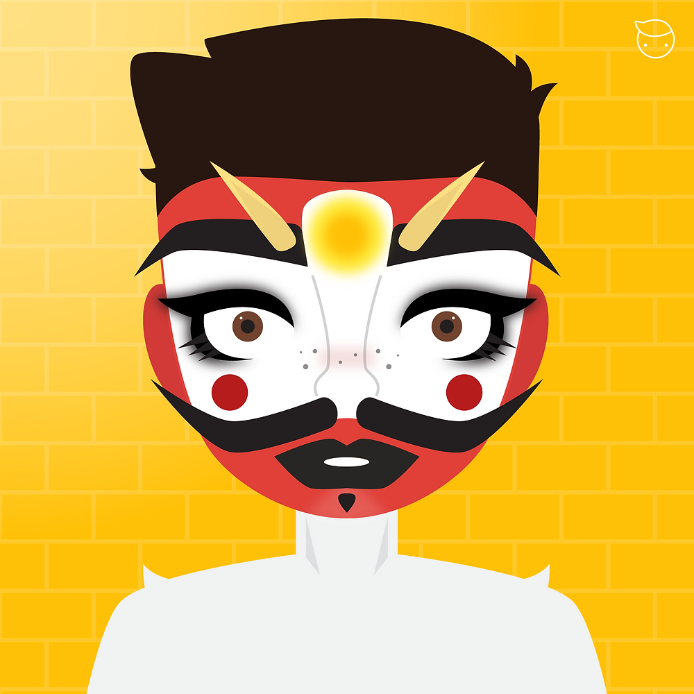 Infinite Cats - This piece is based on one of my favorite artists from instagram called @infinite_cats. Not only is he a super cute boy, but creates these characters out of makeup unlike any I've seen before. This look in particular spoke to me since I am really drawn to the way he re-invented the traditional Japanese Oni mask. I try to promote unknown artists as much as I can and I really hope this helps him get the recognition he deserves.
