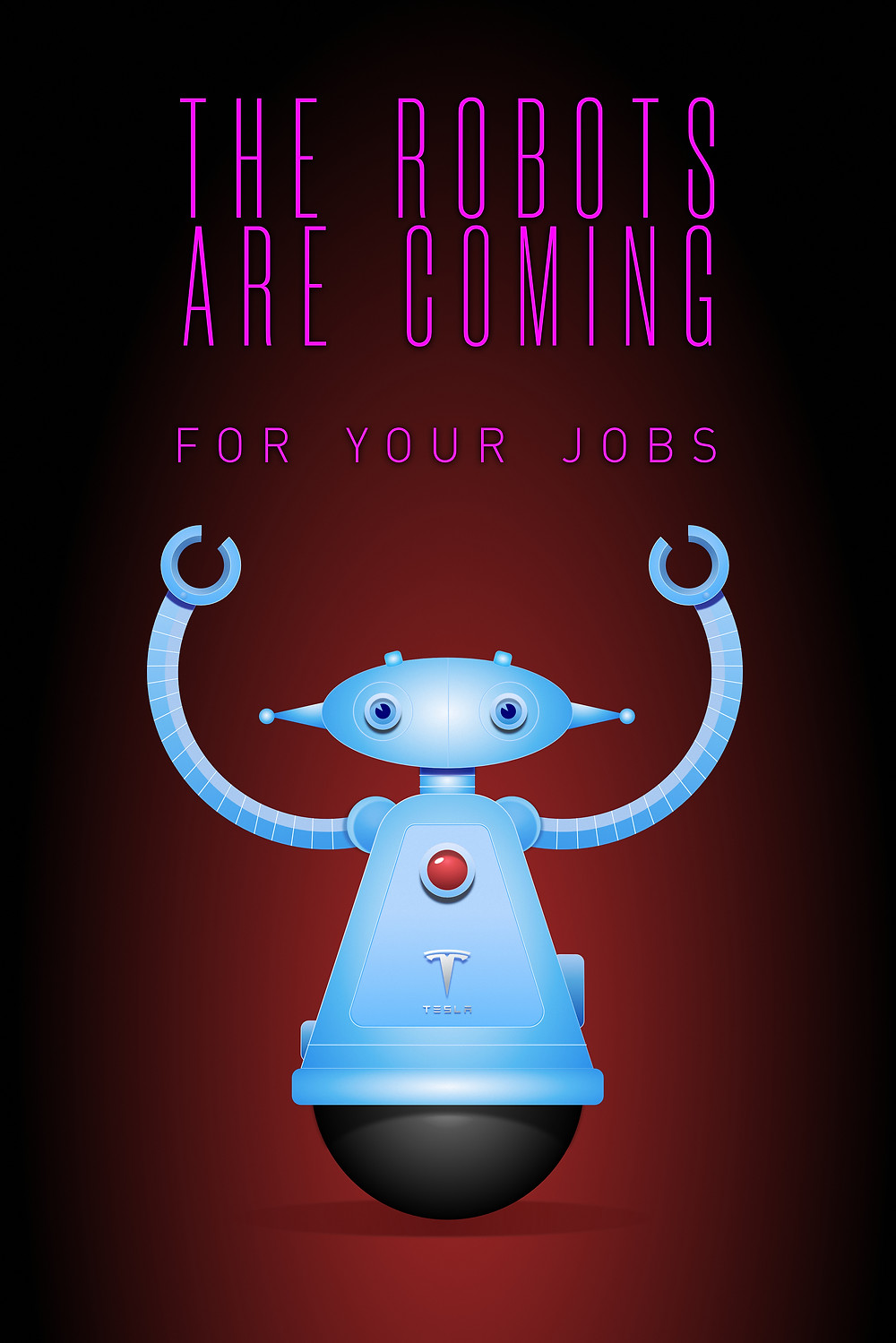 Rise Robots Rise. This illustration represents the impending tidal wave of job loss from Robots and AI that the world isn't ready for.  Most people aren't paying attention to the fast-moving developments in these fields that have already created changes in job markets. More automation = less work for human beings. People often blame job loss in America to shipping jobs overseas, but the real problem is automation.
