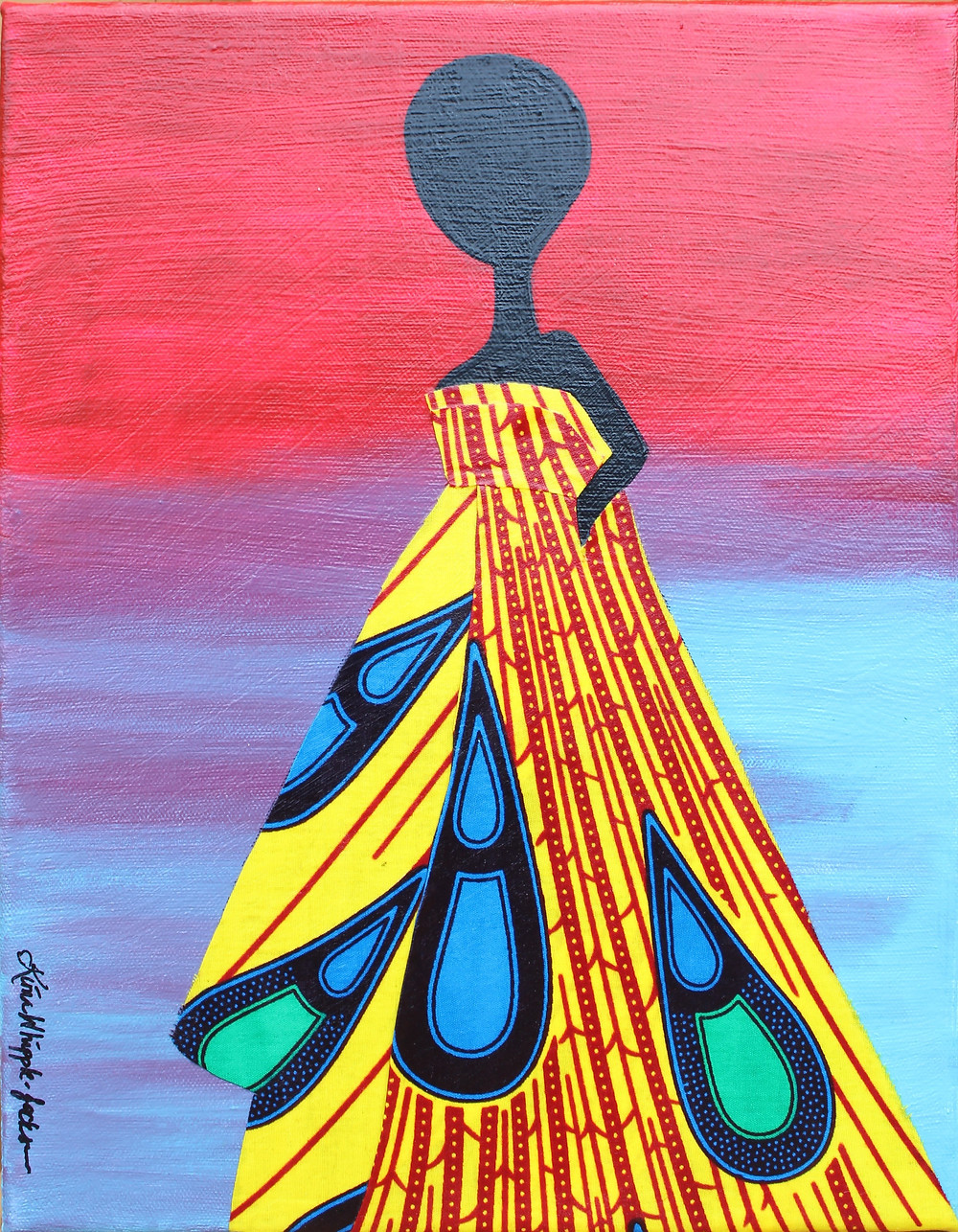 This piece was inspired by the strong women that go about their daily lives in beautiful African print fashions. I hope this piece elicits a feeling of royalty, or a sense of the regal nature that women feel when they look their best. I wanted to do something that would be more inspirational and that would last longer using authentic African wax print fabric I received from the Makola market in Accra, Ghana, (Africa). I wanted to immortalize it, instead of just having outfits made for myself.