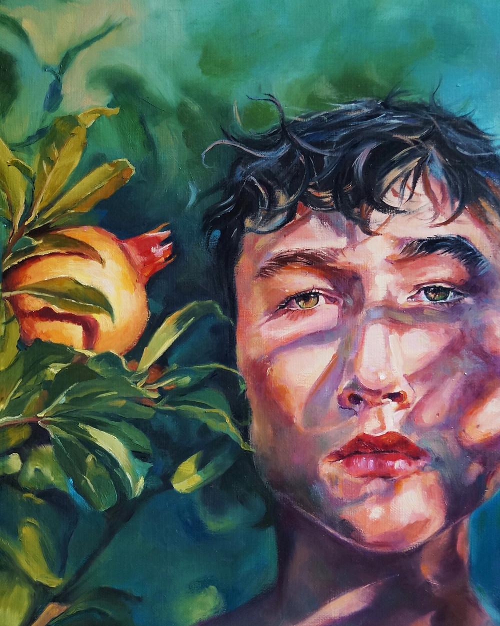 pomegranate garden  oil on canvas   30x40 cm