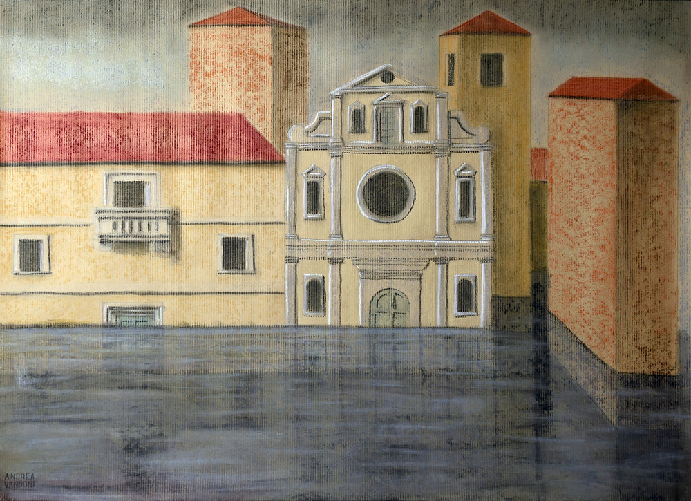 """NOT VENICE "", 2019 COLLECTION: landscapes Original pastel drawing on paper, 70 cm x 50 cm"