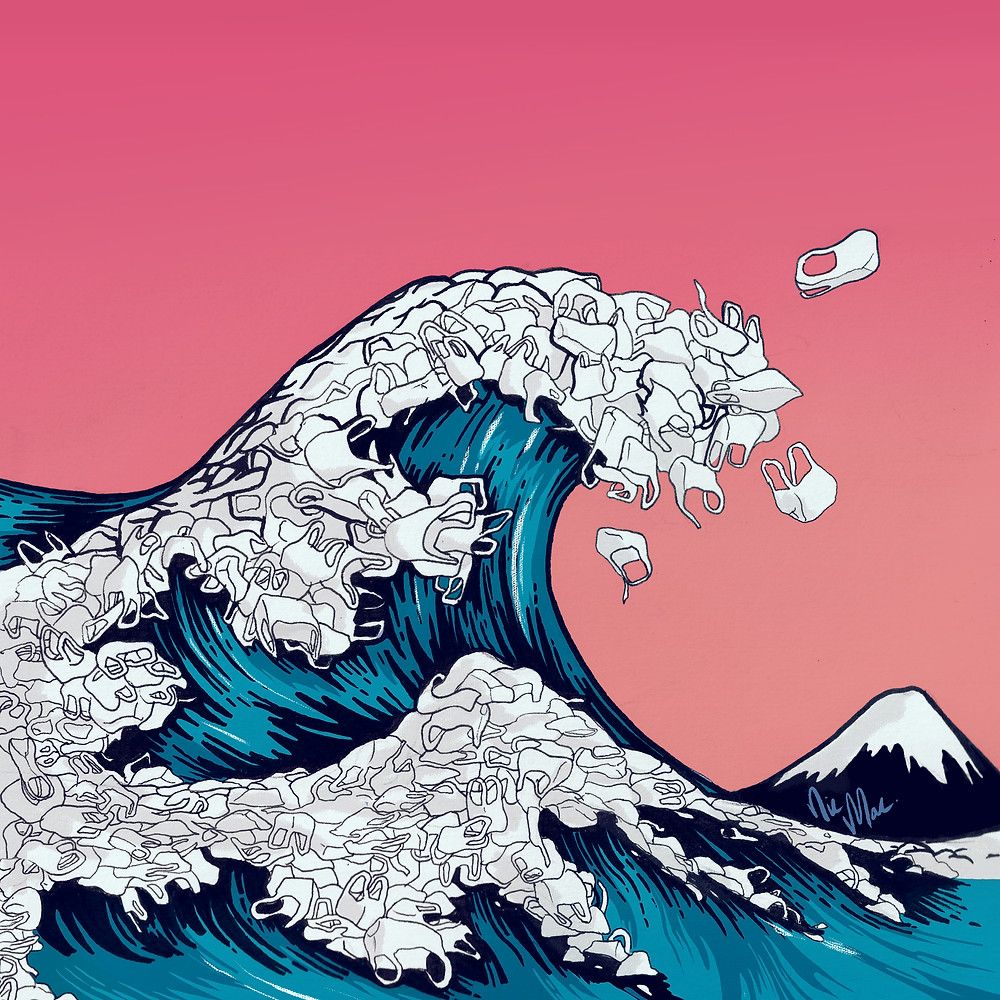 'The Great Plastic Wave' -  A reimagined version of Hokusai's - The Great Wave, My illustrative response to the issues regarding the record levels of Plastic in our oceans.