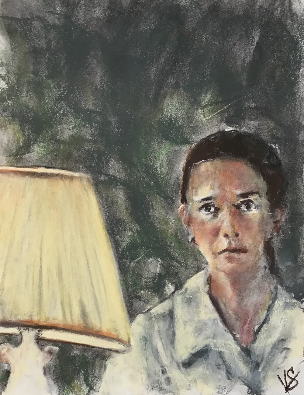 The news. (pastel, 14x11 inches/35x27 cm) - Impressionistic conceptualized figurative pastel on paper... a woman upon hearing something rather shocking