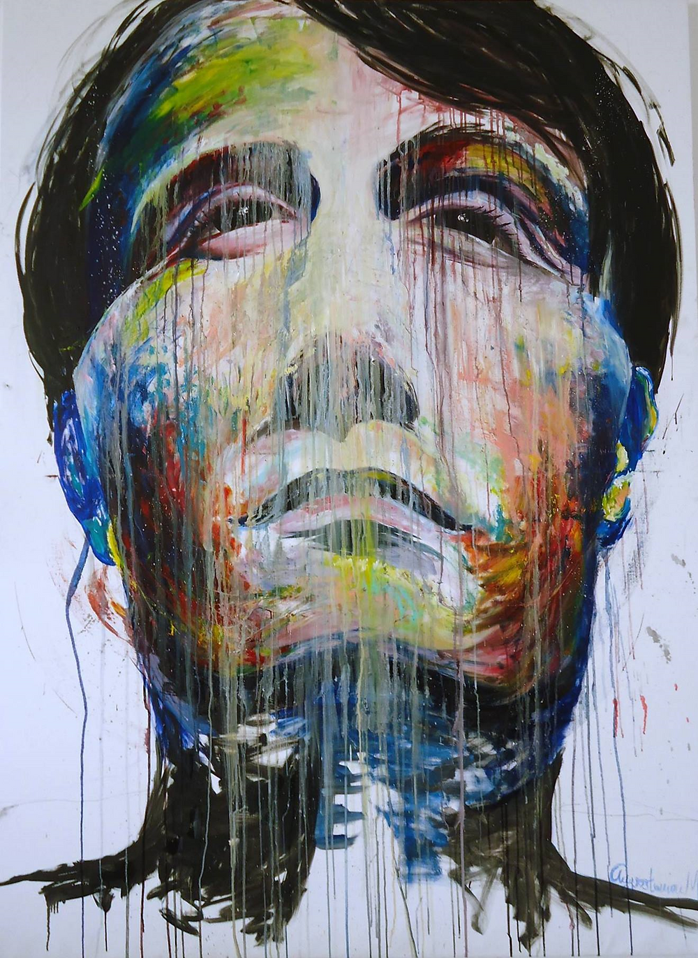 Experiment in oil oils on 190x160 cm canvas