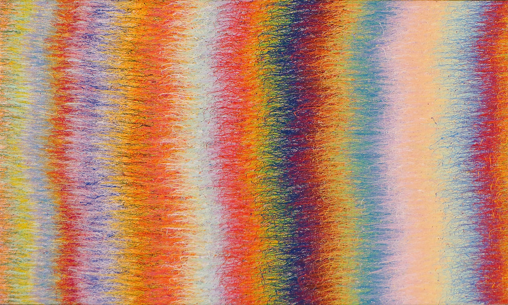 """""""Color Wave Study No. 2 (Fringe)"""":  This piece was the second study for the """"Poles"""" series. In the first study, I had used a very regular curve which I found dull, so in this one I used a more interesting curve (which is actually half of one of the figures from the """"Presence"""" series).  I also tightened the spacing between the bands of colors compared to the first study since they hadn't seemed to do what I wanted in it.  Although I was happy with the spacing and how the color worked in this one, I still didn't feel like it was interesting enough for the series I had in mind.  In the next piece (the first of the series proper), I flipped the curve to make the positive/negative figures that define the series.  As in all the pieces represented, the paint was slung from an extra-fine straight pin onto the canvas at very high speed, which is what creates the super-fine mark."""