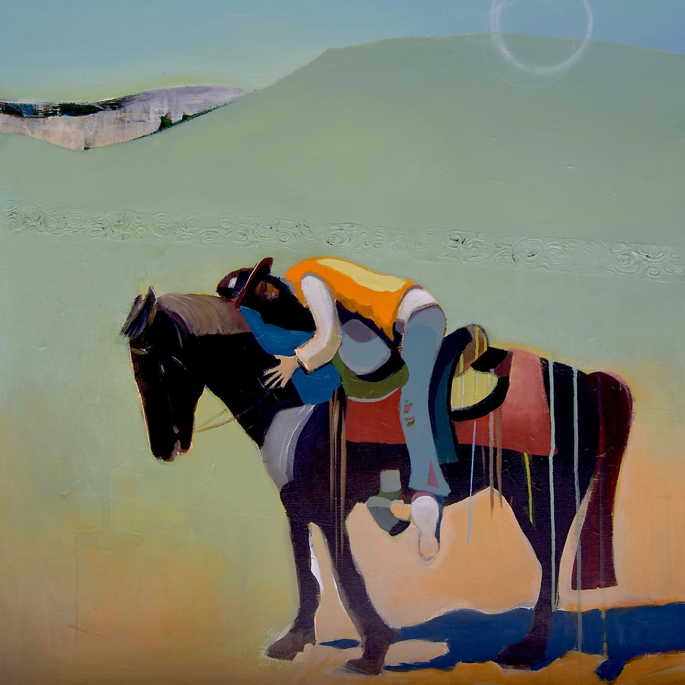 Sweet Surrender - 36x36 - mixed media/oil on canvas - I love riding horses and I have a series of horse and rider paintings. Most are inspired by this image of me hugging the horse I actually learned to ride on. HIs name is Whisky and he is a Missouri Fox Trotter. Hugging a horse like this is the best feeling ever.
