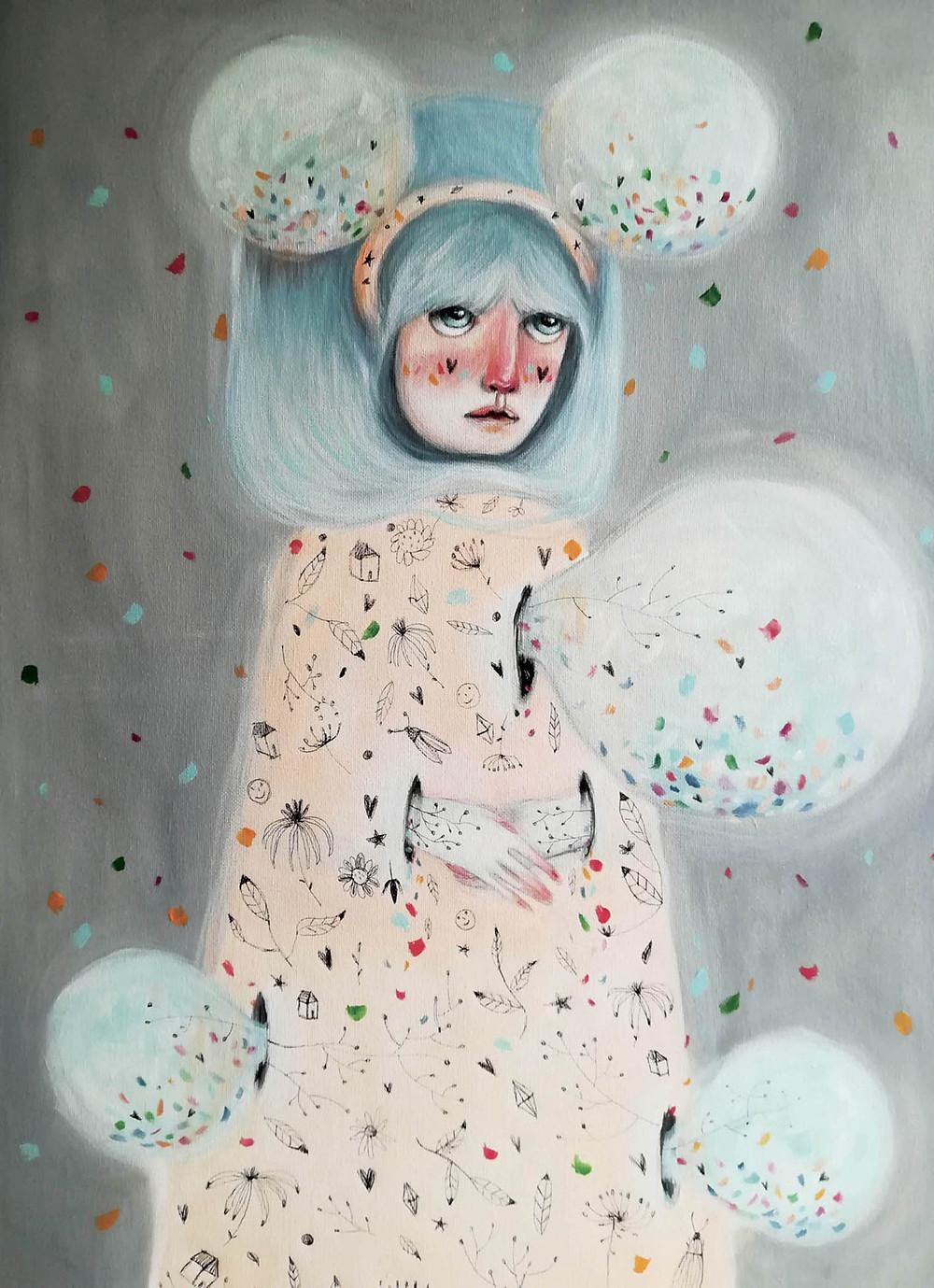 Confetti. 50x60cm Acrylic on canvas.