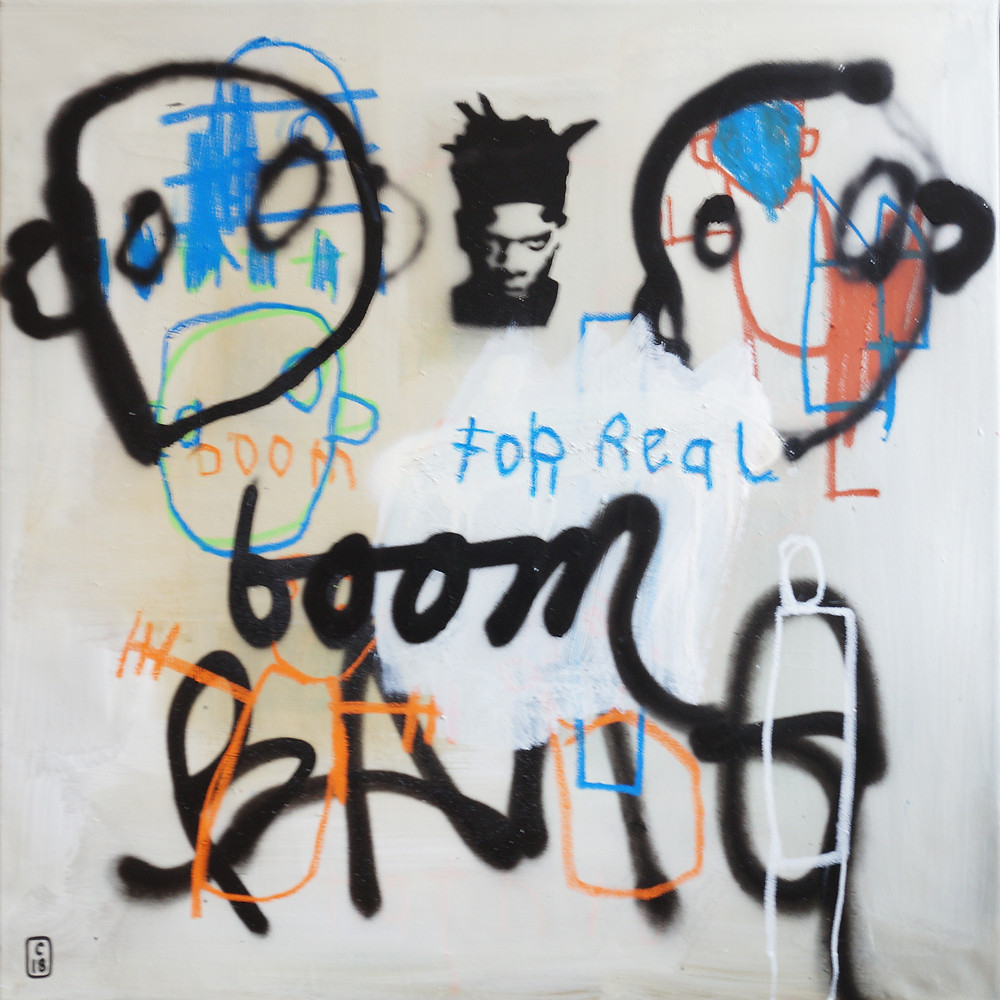 BOOM FOR REAL, 80cm X 80cm, MIXED MEDIA ON CANVAS