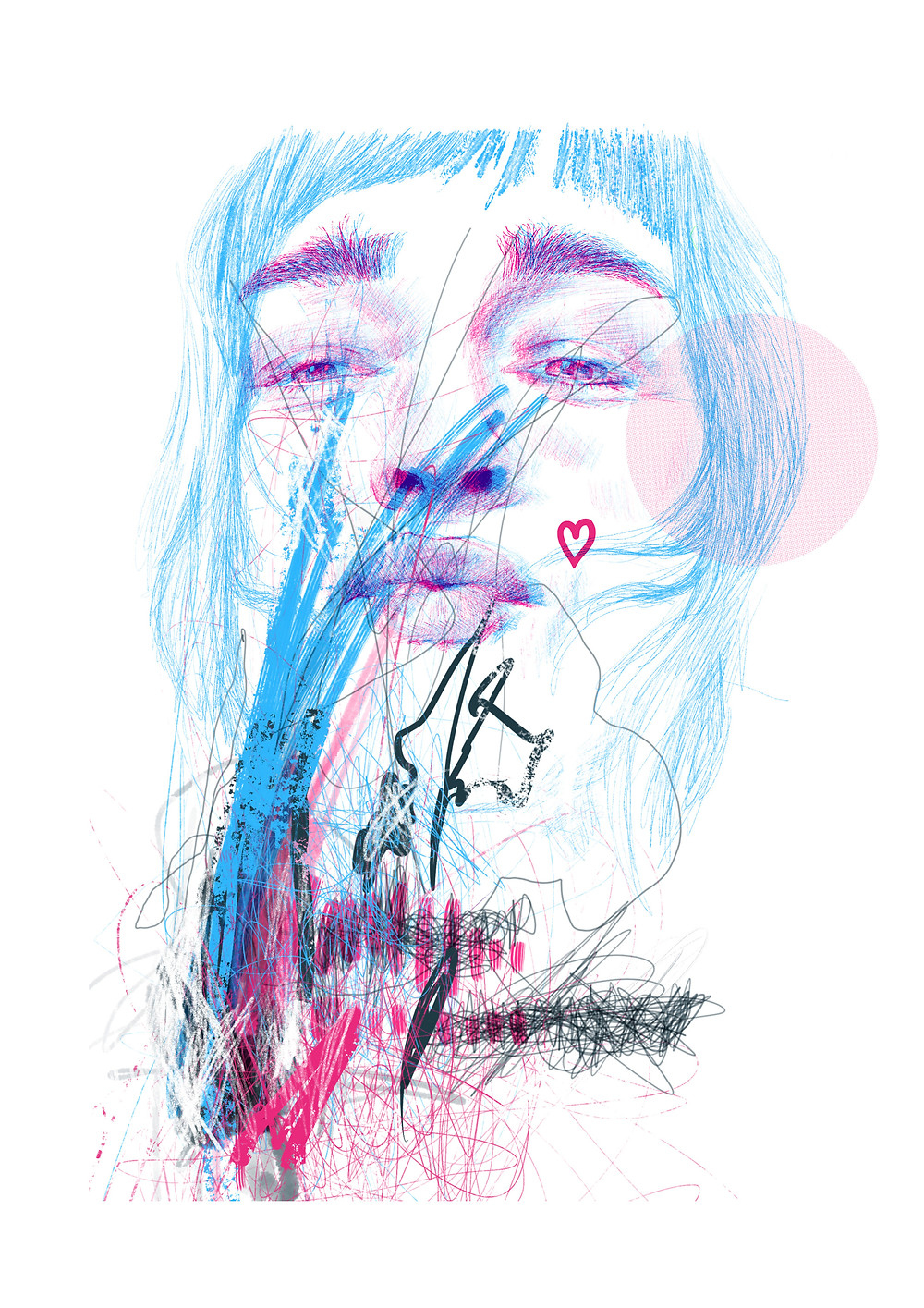 Blowing a kiss is a self-portrait I did as a therapy to get rid of the emotional frustration of a bad moment in dark day.