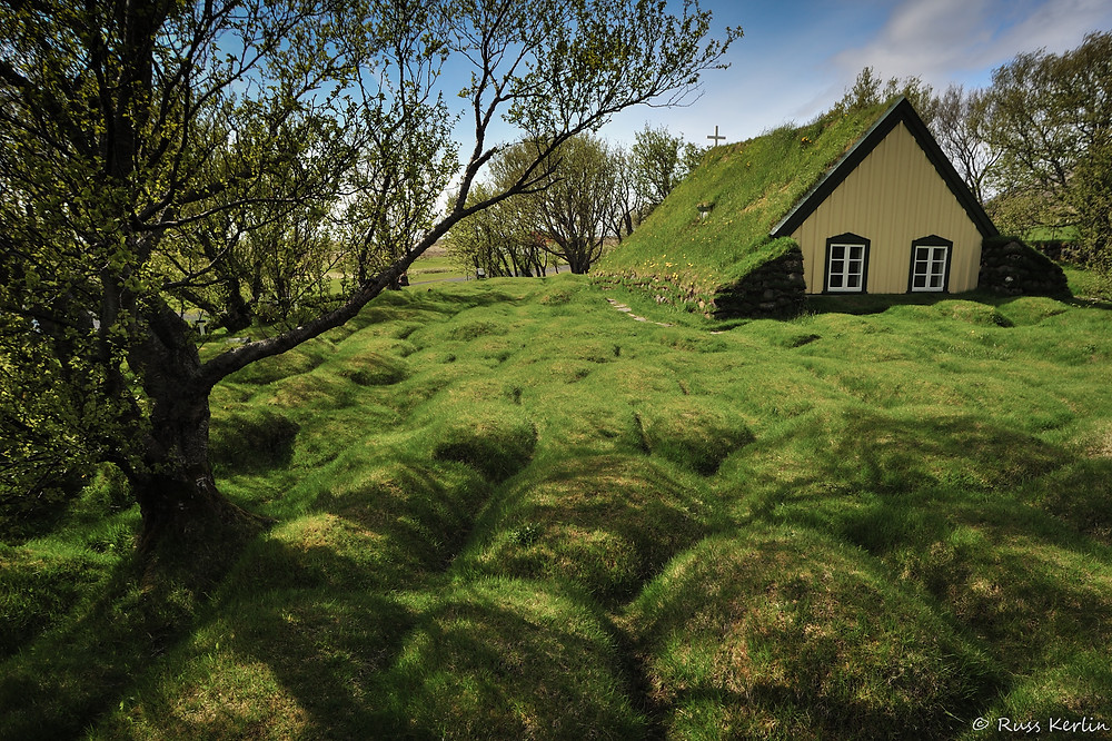 Hofskirkja. Turf covered church built in late 1800's near Hof in southeast Iceland.