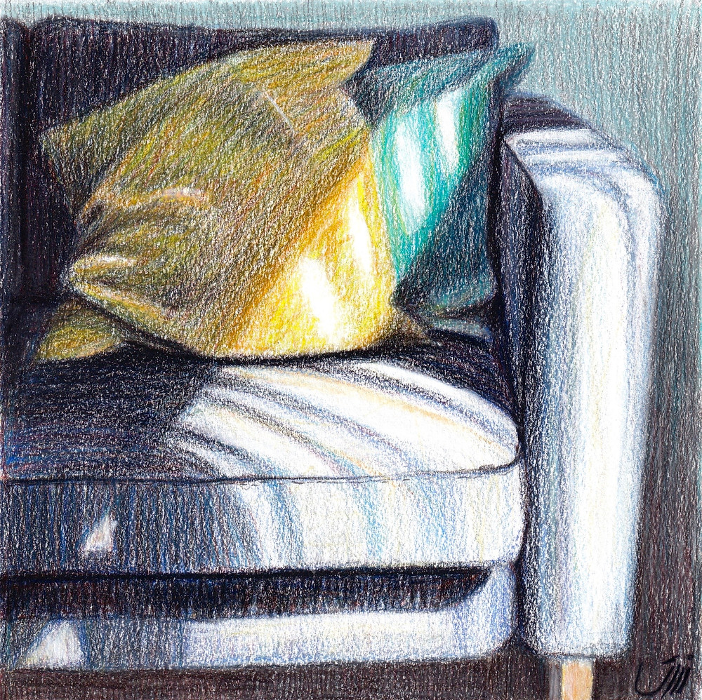 """No.165, Morning. Colored pencil & Acrylic on Paper. """"This is our couch on a beautiful morning. The cushions seemed so lazy, lying on the couch. I wanted to capture the atmosphere as much as I can."""""""