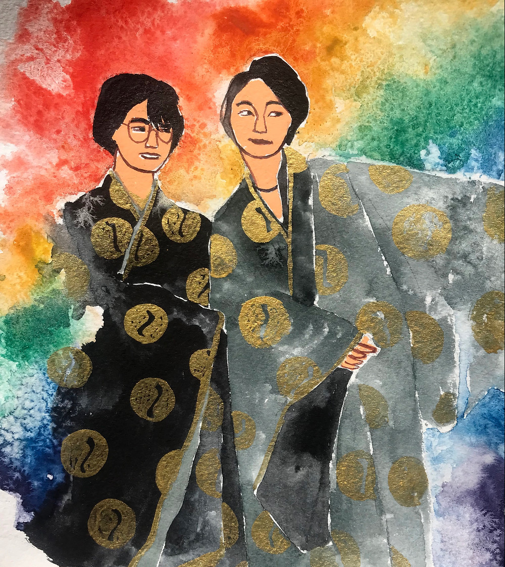 The illustration features two young women in the beginning of their relationship. They both are wearing traditional Japanese male clothing. There is a sense of festivity and excitement associated with falling in love and pride of being who you are.
